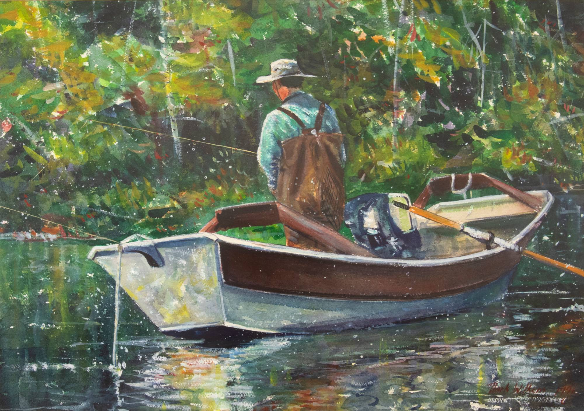 A man in a boat fishing with green foliage in the background.